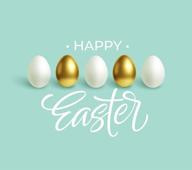 Fondo blu festivo di pasqua felice con le uova di pasqua bianche e dell'oro