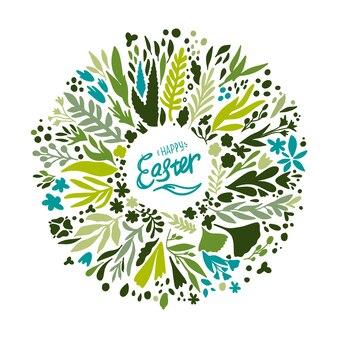 Corona di fiori di pasqua felice con scritte. scarabocchio, cartone animato.