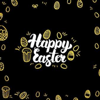 Cartolina felice del nero dell'oro di pasqua. illustrazione vettoriale della calligrafia di vacanze di primavera con decorazione dorata.