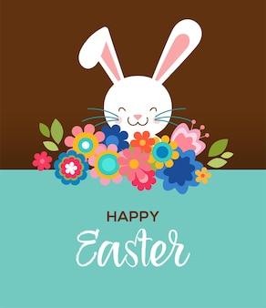 Cartolina d'auguri di pasqua felice, poster, con coniglietto carino e dolce e fiori