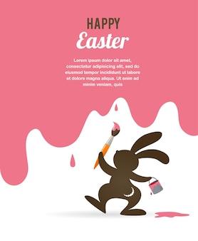 Cartolina d'auguri di pasqua felice con il coniglietto