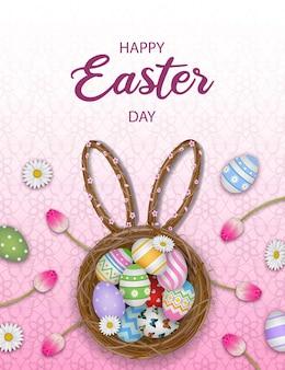 Cartolina d'auguri di pasqua felice con uova colorate nel nido e fiori