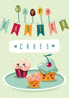 Auguri di buona pasqua con cupcakes in stile kawaii