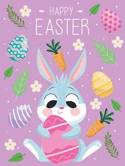 Auguri di buona pasqua con coniglio carino che abbraccia uovo