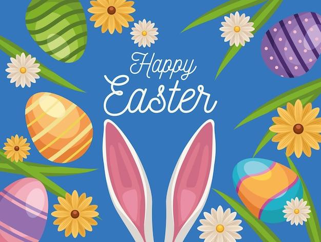Auguri di buona pasqua con orecchie di coniglio e uova dipinte in giardino