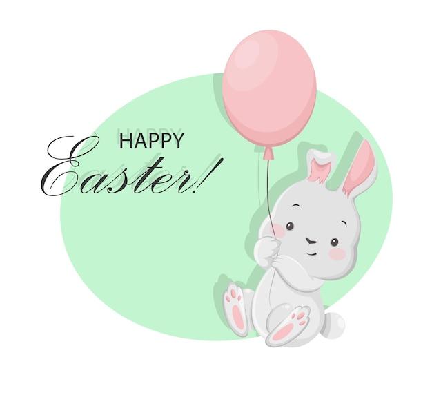 Cartolina d'auguri di pasqua felice con personaggio dei cartoni animati di coniglietto divertente