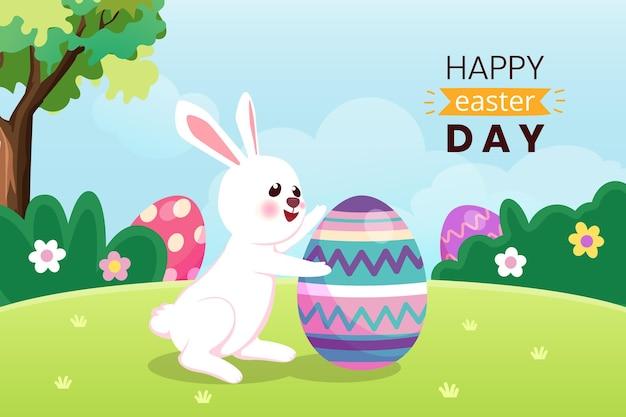 Cartolina d'auguri di pasqua felice con coniglio e uovo di pasqua nella foresta