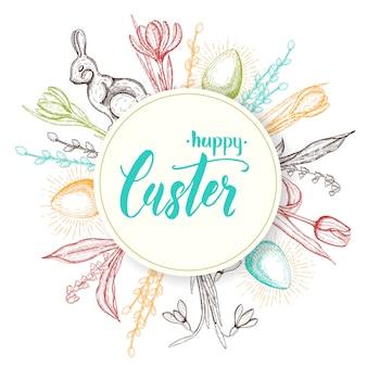 Felice pasqua disegnata a mano doodle monocromatico icone-uovo di pasqua, coniglietto di cioccolato, mughetti, tulipano, bucaneve, croco, salice. gli oggetti si trovano intorno all'etichetta. schizzo scritte a mano