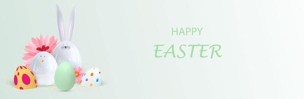Fondo felice di festa di pasqua progettazione festiva con coniglietto e pollo realistici 3d