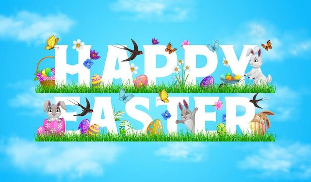 Insegna felice di festa di pasqua con i conigli che giocano sull'erba del prato