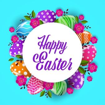 Volantino o cartolina d'auguri dell'insegna di celebrazione di festa di pasqua felice con l'illustrazione decorativa dei fiori e delle uova