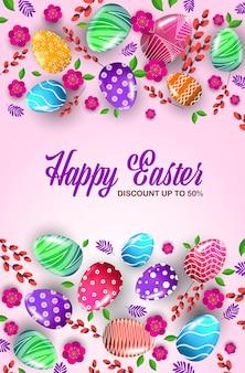 Felice pasqua vacanza celebrazione banner flyer o biglietto di auguri con uova decorative e fiori illustrazione verticale
