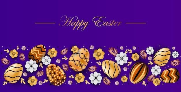 Volantino o cartolina d'auguri dell'insegna di celebrazione di festa di pasqua felice con l'illustrazione orizzontale delle uova decorative