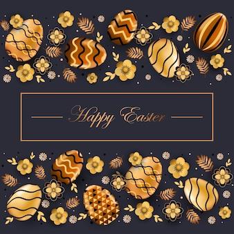 Volantino o cartolina d'auguri dell'insegna di celebrazione di festa di pasqua felice con l'illustrazione decorativa delle uova