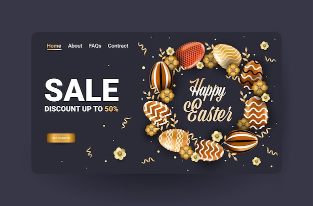 Volantino o cartolina d'auguri dell'insegna di vendita di celebrazione di festa di pasqua felice con l'illustrazione orizzontale delle uova decorative