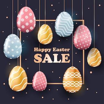 Volantino o cartolina d'auguri dell'insegna di vendita di celebrazione di festa di pasqua felice con l'illustrazione decorativa delle uova