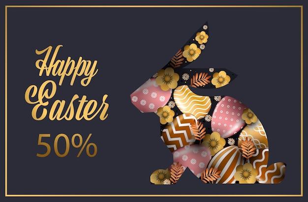 Felice pasqua vacanza celebrazione vendita banner volantino o biglietto di auguri con uova decorative in illustrazione orizzontale forma di coniglio