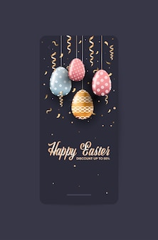 Volantino o cartolina d'auguri dell'insegna di vendita di celebrazione di festa di pasqua felice con l'illustrazione verticale delle uova decorative