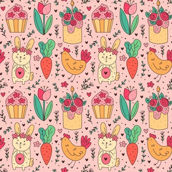 Felice pasqua vacanza doodle line art seamless pattern