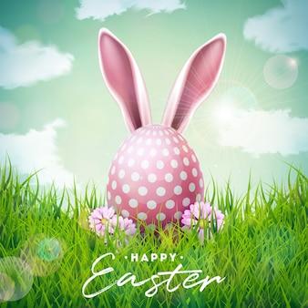 Illustrazione felice di festa di pasqua con le orecchie e l'uovo di coniglio