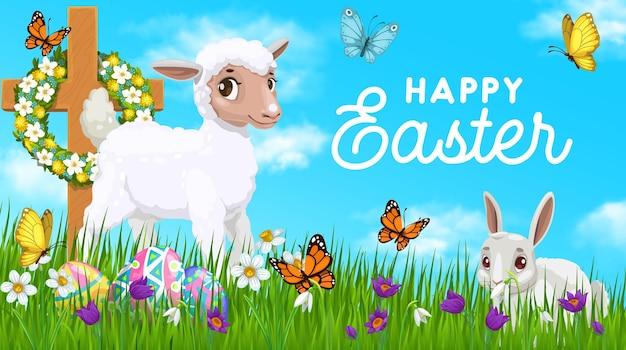 Manifesto di vacanza di pasqua felice con coniglio bianco e pecore