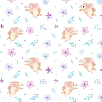 Modello senza cuciture del coniglio felice dell'acquerello di vacanza di pasqua con fiori e foglie