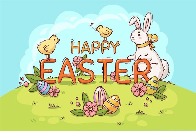 Illustrazione di pasqua felice con coniglietto e pulcini