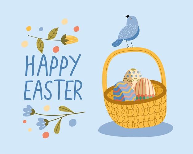 Scheda felice dell'iscrizione di pasqua con le uova dipinte e il disegno dell'illustrazione dell'uccello nel cestino