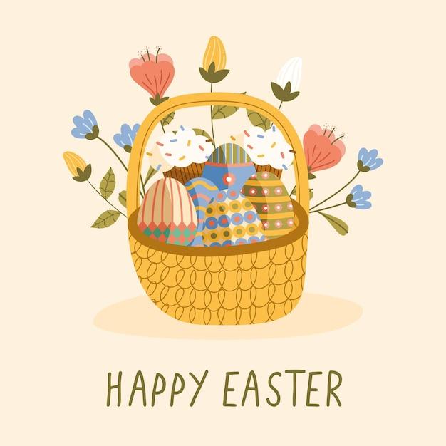 Scheda felice dell'iscrizione di pasqua con le uova dipinte e il disegno dell'illustrazione dei fiori nel cestino