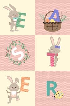 Cartoline di buona pasqua con coniglietto e lettere. decorazione festiva con elementi primaverili, fiori e uova. illustrazione piatta vettoriale