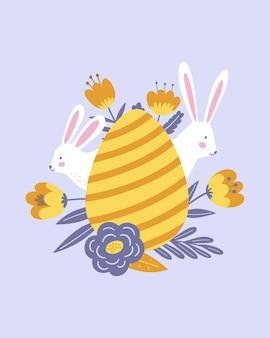 Buona pasqua poster, stampa, biglietto di auguri o striscione con uova, conigli bianchi o conigli, fiori primaverili, piante e scritte o testo. illustrazione disegnata a mano di vettore.