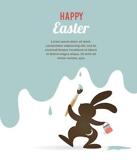Manifesto di pasqua felice con il coniglietto