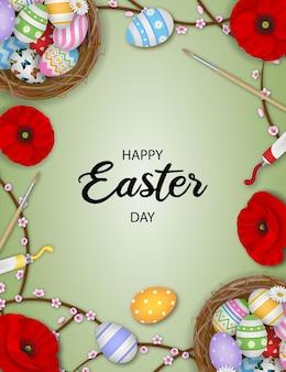 Felice poster di pasqua con uova colorate nel nido e fiori
