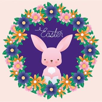Il coniglio felice di pasqua dentro la corona fiorisce il vettore