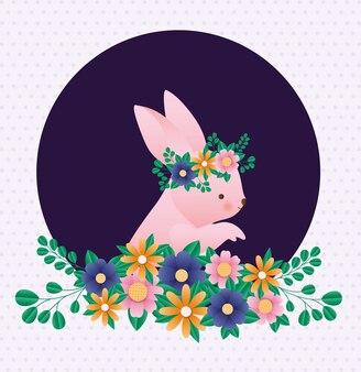 Coniglio felice di pasqua con i fiori sopra il vettore aguzzo del fondo