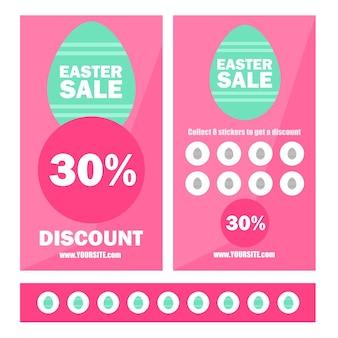 Banner di vendita di buona pasqua con sfondo geometrico, uova e cornice. buoni promozionali con adesivi e sconto