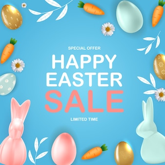 Modello di vendita di pasqua felice con modello di carota di coniglietto di uova di pasqua realistiche 3d