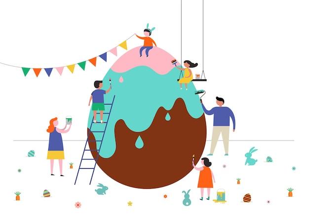 Buona pasqua con famiglie, bambini. evento di strada di pasqua, festival e fiera, banner, poster
