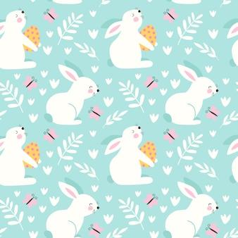 Felice pasqua seamless pattern con coniglio