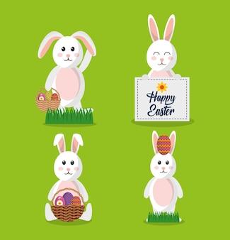 Coniglietto stabilito di pasqua felice con l'uovo del canestro della carta