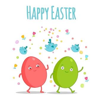 Felice easter.set di uova di pasqua con texture diverse su uno sfondo bianco.vacanze di primavera. illustrazione di vettore. uova di pasqua felici.