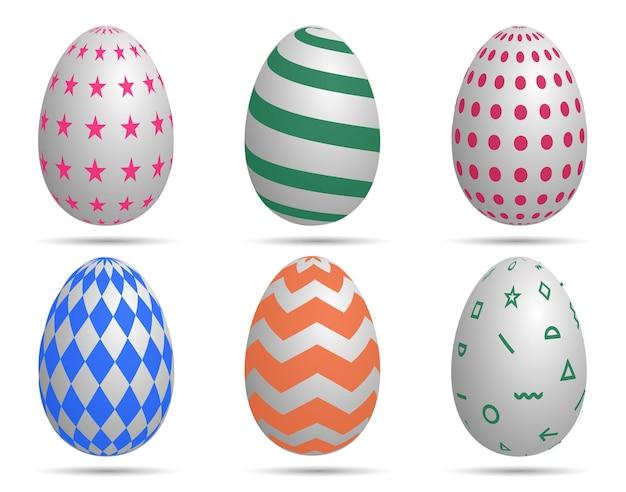 Buona pasqua. insieme delle uova di pasqua con struttura differente su bianco