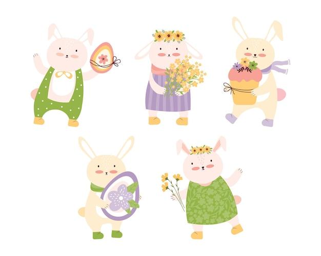 Buona pasqua! set di coniglietti felici con uova di pasqua, una torta e un bouquet di fiori gialli. personaggio dei cartoni animati di conigli carini.