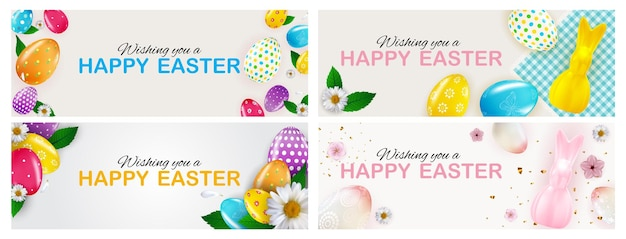 Modello di pasqua felice impostato con uova di pasqua realistiche 3d e vernice.