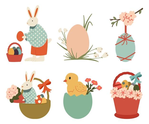 Illustrazione del fumetto di vettore di pasqua felice con coniglietto, pulcini, uova, cestino, fiori primaverili e testo scritto a mano isolato.