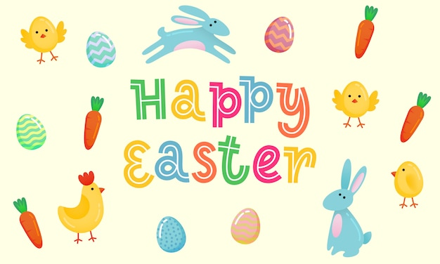Insegna sveglia di vettore felice di pasqua con le uova decorate colorate