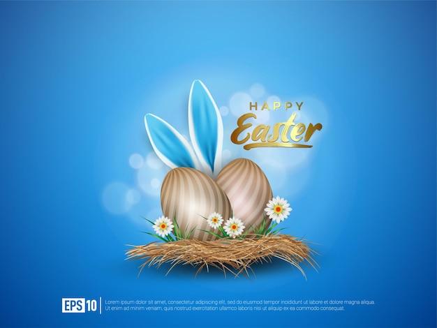 Buona pasqua con uova e orecchie di coniglio