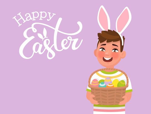 Buona pasqua con la scritta e un ragazzo con orecchie di coniglio che tiene in mano un cesto con le uova. modello per congratulazioni per la vacanza. in stile cartone animato