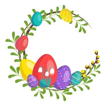 Corona di buona pasqua in colori vivaci. decorazione festiva con elementi primaverili, fiori e uova. illustrazione piana di vettore. adatto per cartoline, stampe e disegni