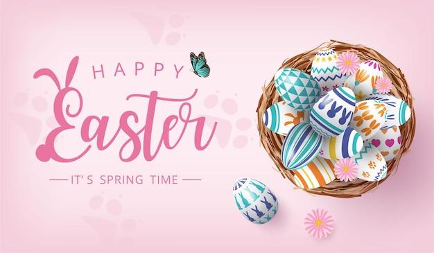 Banner di mangiatore felice con uova colorate dipinte nel nido su sfondo rosa